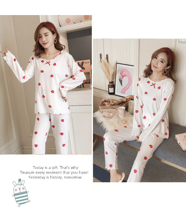 Autumn Women Cotton Pajamas Sets 2 Pcs Cartoon Printing Pijama Pyjamas Long Sleeve Bowknot Pyjama Sleepwear Sleep Set 66