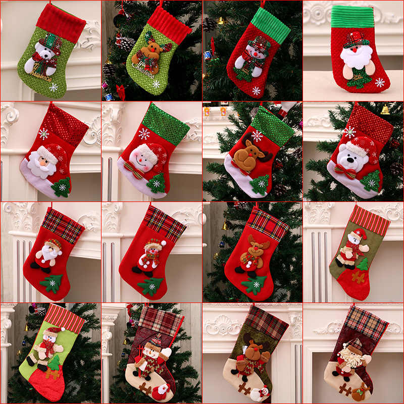 Hot Christmas Gift Christmas Stocking Sock Santa Claus Xmas Tree Hanging Decor Christmas Stockings Candy Gift Bag Navidad