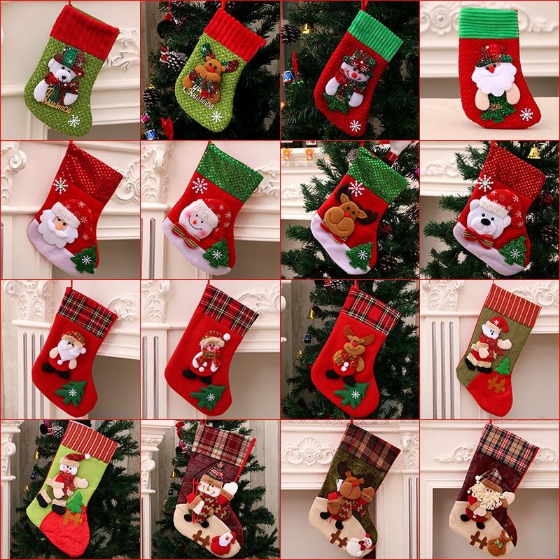 Hot Christmas Gift Christmas Stocking Sock Santa Claus Xmas Tree Hanging Decor Christmas Stockings Candy Gift Bag Navidad