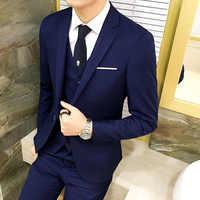 MEN'S Suit Set Three-piece Set Slim Fit Going to Work Business Formal Wear Suit Groomsmen Group Groom Marriage Formal Dress