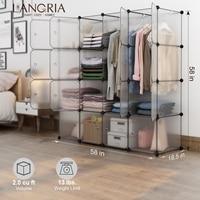 LANGRIA 16 Cube DIY Modular Organizer MutifunctionalWith PVC Panel Plastic Cube Closet Wardrobes Transparent Home Furniture