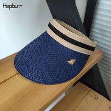 Hepburn brand 2019 Womans Sun Hats Female Bowknot Visor Caps Hand Made DIY Straw Summer Cap Casual Shade Hat Empty Top