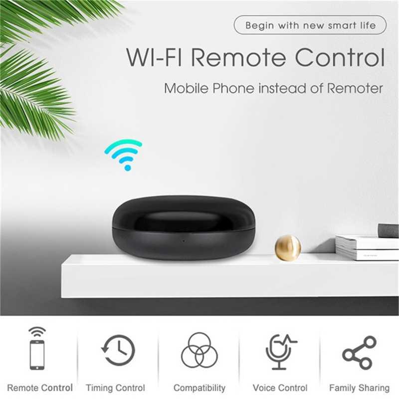 جهاز تحكم عن بعد صغير من Tuya مزود بتقنية WiFi يعمل بالأشعة تحت الحمراء 360 ° 10m مع مساعد أليكسا جوجل ، لأجهزة تكييف الهواء التليفزيونية التحكم الصوتي