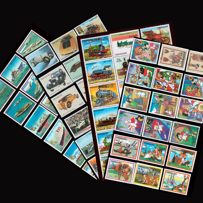 <font><b>100</b></font> <font><b>200</b></font> 290 pcs Different All New Postage Stamps Big Size From Paraguay For Collection image