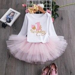 Herbst Langarm Baby Mädchen Kleid Für Kleine Diejenigen Ersten Geburtstag Mädchen Party Outfits Neugeborenen Kleinkind Taufe Tutu Kleid Kleidung