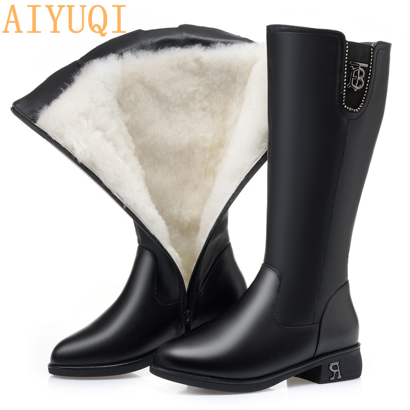 AIYUQI High Boots Women 2020 New Winter Boots Women Genuine Leather Large Size 41 42 Female riding boots Ladies Winter Footwear title=