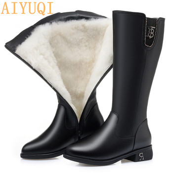 AIYUQI Women's Winter Boots Large Size Genuine Leather Fashion Women High Boots Wool Warm Shiny Ladies Motorcycle Boots aiyuqi winter ankle boots women 2020 new high heels women boots genuine leather wool fashion platform female office boots
