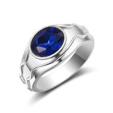 Luxury Men's Ring Fashion Simple Blue Gems Zircon Ring Men Wedding Band Engagement Ring Men's Jewelry Fashion Accessories