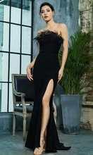 Женское длинное атласное платье русалка Черное вечернее до пола