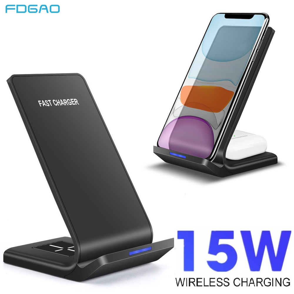 FDGAO 15W 2 in 1 Qi Wireless Charger Quick Charge Dock Pad For Samsung S10 S20 Charging Stand For iPhone 11 XS XR X Airpods Pro(China)