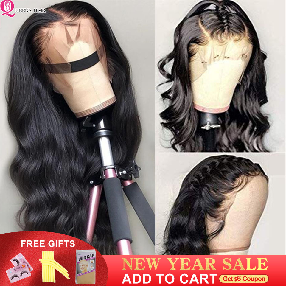 Transparent Lace Front Human Hair Wigs Body Wave Glueless Lace Wig Pre Plucked Remy Black 13X6 Brazilian Front Lace Closure Wigs