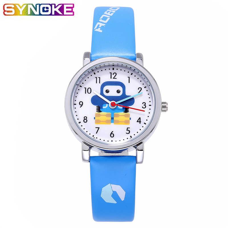 SYNOKE Blue Kids Quartz Watches PU Leather Sports Cartoon Robot Boys Girls Gifts Children Watch Yellow Red Fashion Wrist Watch