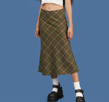 Spring/Summer Retro Fishtail Skirt Slim Plaid Pastoral Skirt High Waist Cotton Girls Picnic Suburban Leisure Skirt Gothic Women retro style women s lace splicing fishtail skirt