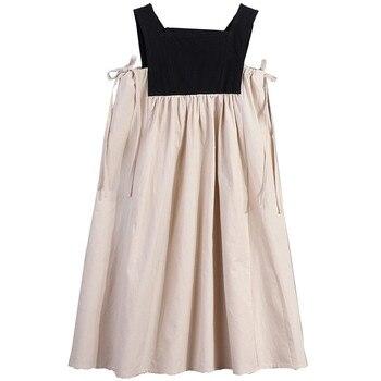 4 a 14 anni i bambini e adolescente ragazze di estate blocchetto di colore del cotone casual flare midi del vestito della ragazza senza maniche piazza del collare vestito dalla maglia 1