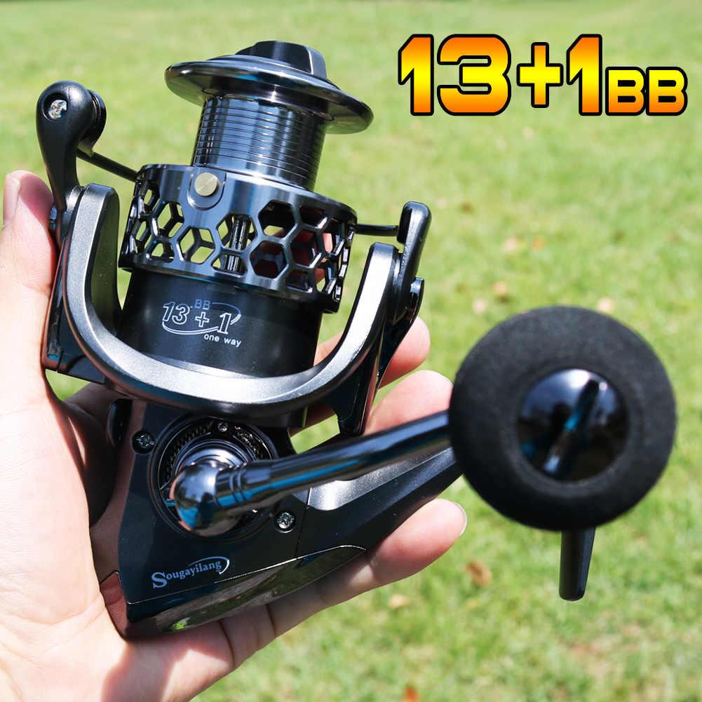 Sougayilang Рыболовная катушка 13 + 1BB светильник Ультра гладкая алюминиевая спиннинговая Рыболовная катушка
