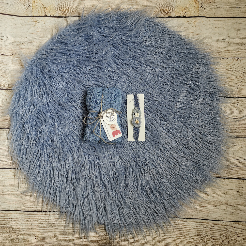 Dia=60cm Round Faux Fur Photography Blanket+140*30cm Stretch Knit Wrap +matched Cotton Headband For Newborn Photography Props