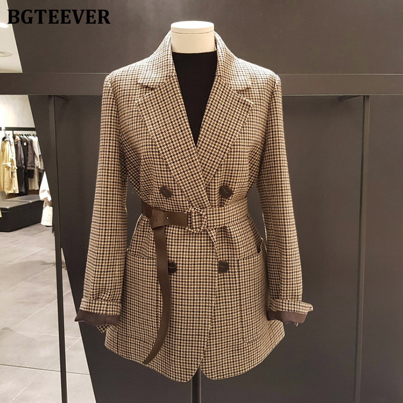 BGTEEVER Korean Plaid Women Work Blazer Jacket Casual Double-breasted Sashes Suit Jacket Female 2020 Slim Female Blazer Outwear