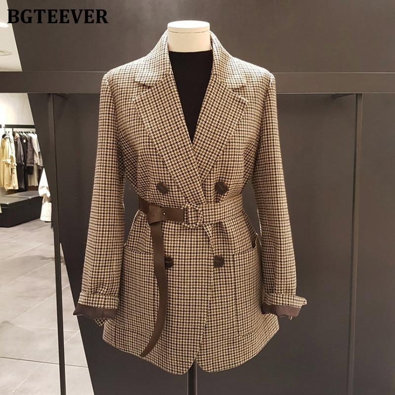 BGTEEVER Korean Plaid Women Work Blazer Jacket Casual Double-breasted Sashes Suit Jacket Female 2020 Slim Female Blazer Outwear