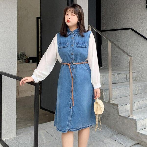 L-5XL grande taille femmes Denim robe 2019 automne à manches longues Femme ample Patchwork robe 4XL grande taille décontracté bleu Denim robes