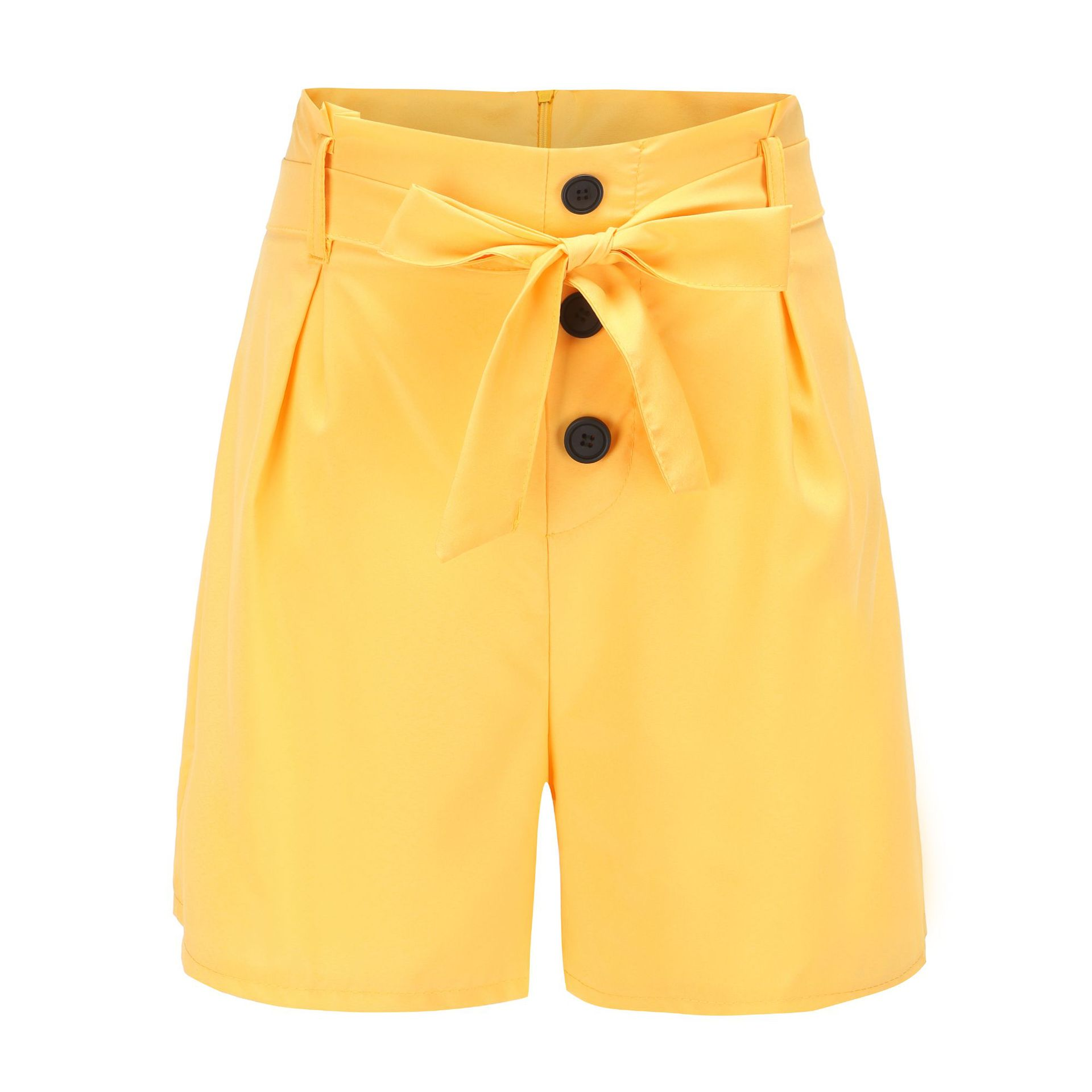 ONCE Women Shorts High Waist Buttons Sashes Elegant  Summer Zip-Up Skinny Shorts Solid Plus Size Pockets Summer Casual Shorts 9