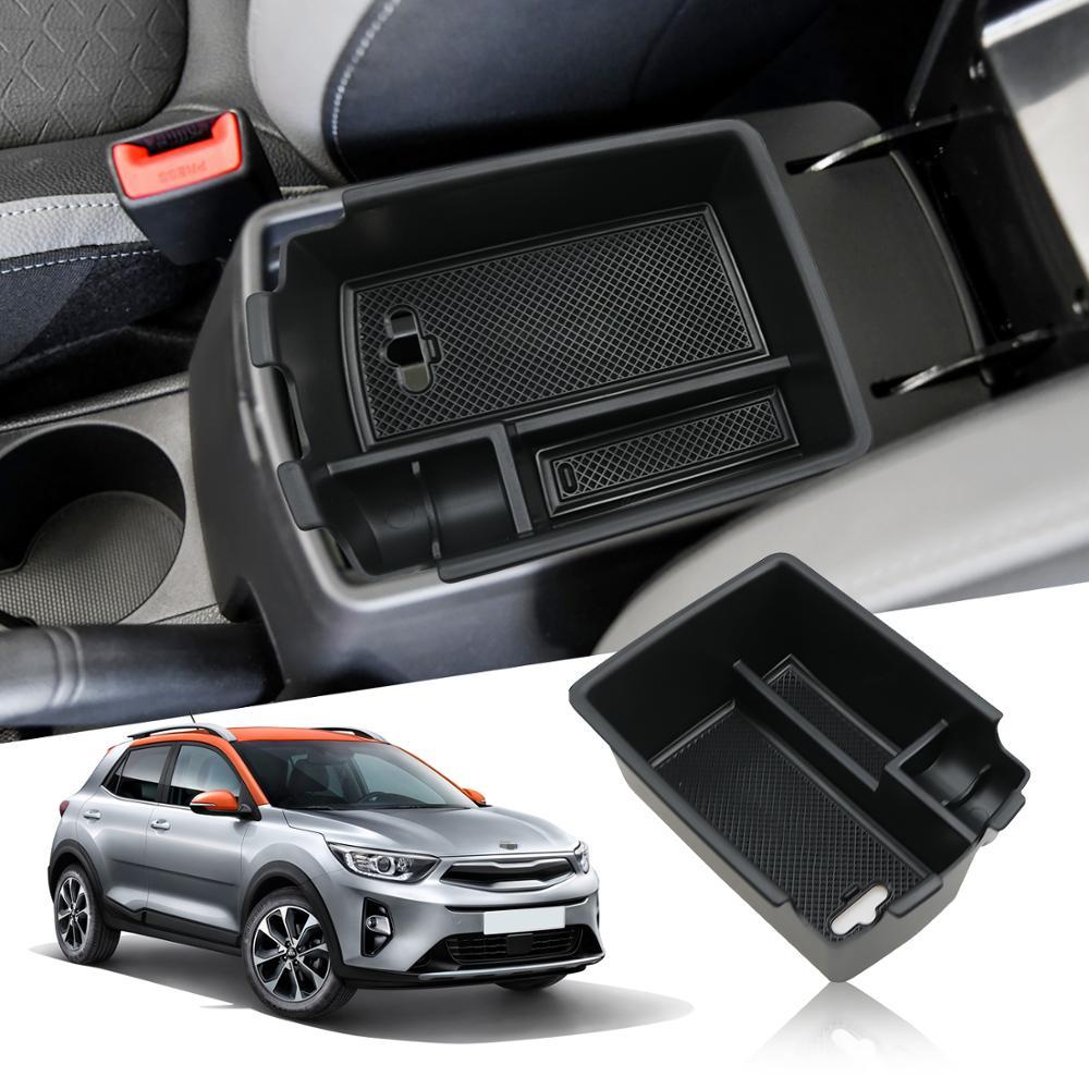 Lsrtw2017 noir abs voiture accoudoir boîte de rangement plaque pour kia stonic 2017 2018 2019 2020 intérieur accessoires style