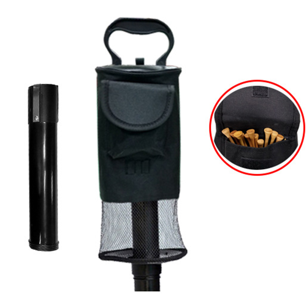Shag Durable Golf Ball Picker Collect Waterproof Long Handle Lightweight Large Hold Zipper Easy Carry Nylon Bag Detachable