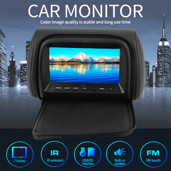 HD Universal 7 Inch Car Headrest Monitor Rear Seat Entertainment Player Accessories for navigation DVD ABS + Faux Leather