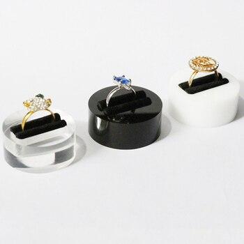 Joyería anillo de exhibición soporte joyería accesorios organizadores Soporte redondo para foto joyería anillo bandeja caja acrilico docoration expositor