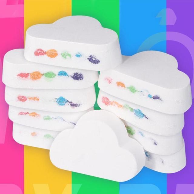 Natural Cloud Shape Rainbow Bath Bomb Exfoliating Moisturizing Bath Salt Ball Bombs Skin Care Romantic Bath Salt Bath Bubble 3