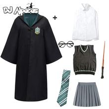 Dzieci dorosły Potter szata kostium z płaszczem dla dzieci mężczyźni kobiety hermiona magia mundurek szkolny Cosplay kostium na Halloween akcesoria tanie tanio DJ ALPACAS CN (pochodzenie) Cloak Film i TELEWIZJA Unisex Kurtki Płaszcze Poter harris Poliester Kostiumy