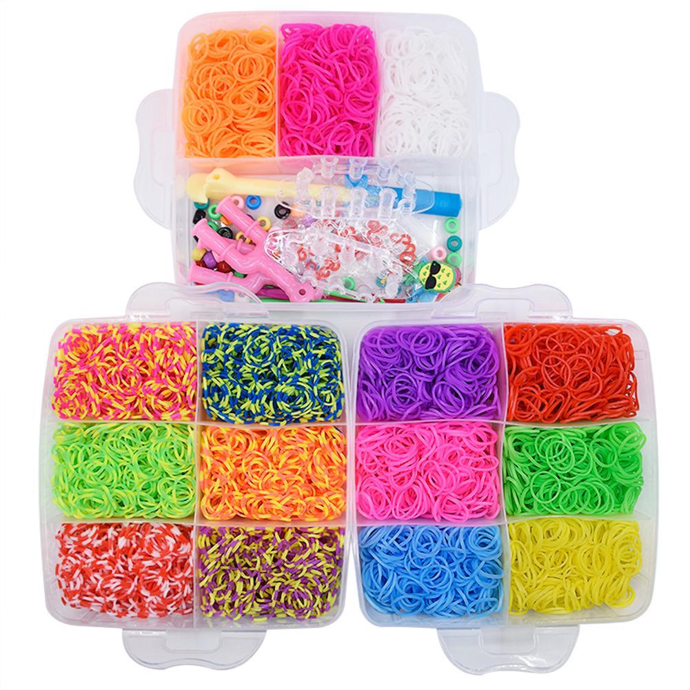 DIY Hand Made Rainbow Rubber Bands Twist Loom Set Rubber Loom Bands Kits Friendship Bracelet Maker Making Kit For Kids In Stock