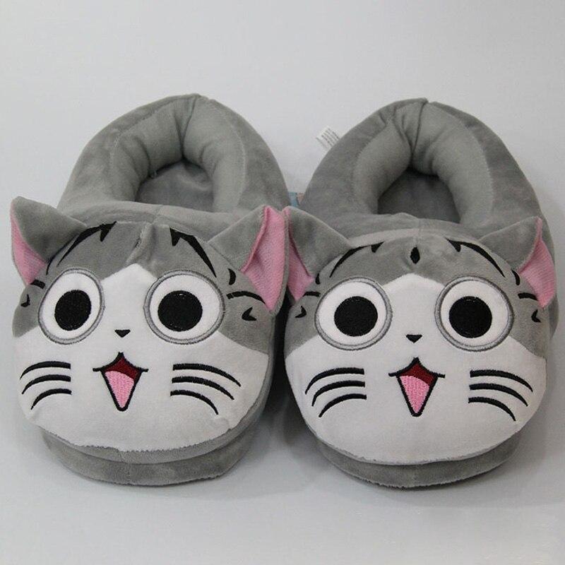 Publipostage gros fromage chat doux chat en peluche pantoufles chaussures drôles femmes filles mignonnes maison privée chat chaud coton chaussures