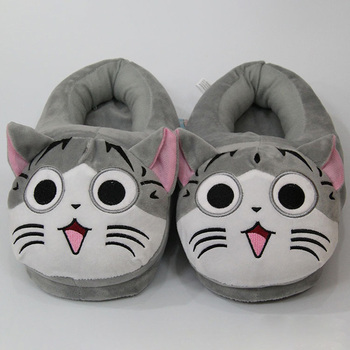 Direct Mail Wholesale Cheese Cat Sweet Cat Plush Slippers Funny Shoes Women Cute Girls Home Private House Cat Warm Cotton Shoes chi s cheese cat private sweet cat papa big eyes cat plush toy doll kids toy home pillow