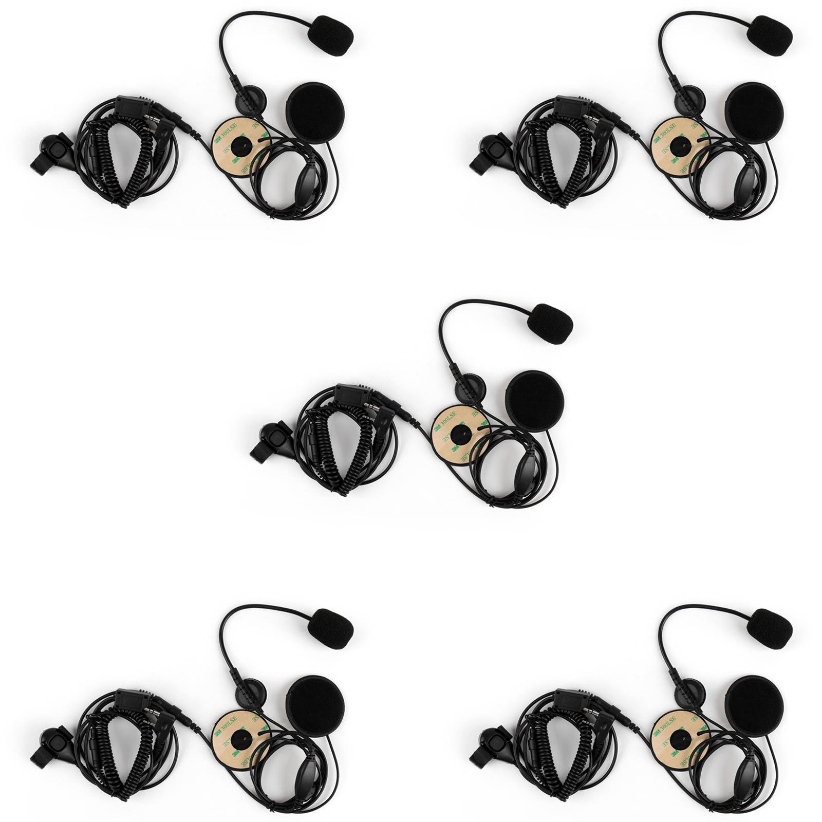 Artudatech 5Pcs 2 Pin Single Motorcycle Helmet Headset Adjustable Volume For Kenwood KPG TH TK 2 Way Radio