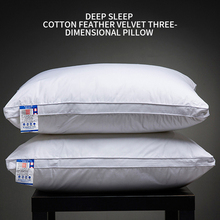 Five-star Pure white hotel pillow core soft and hard cotton feather velvet cervical single and double adult student pillow 1pc five star hotel bedding pillow 100