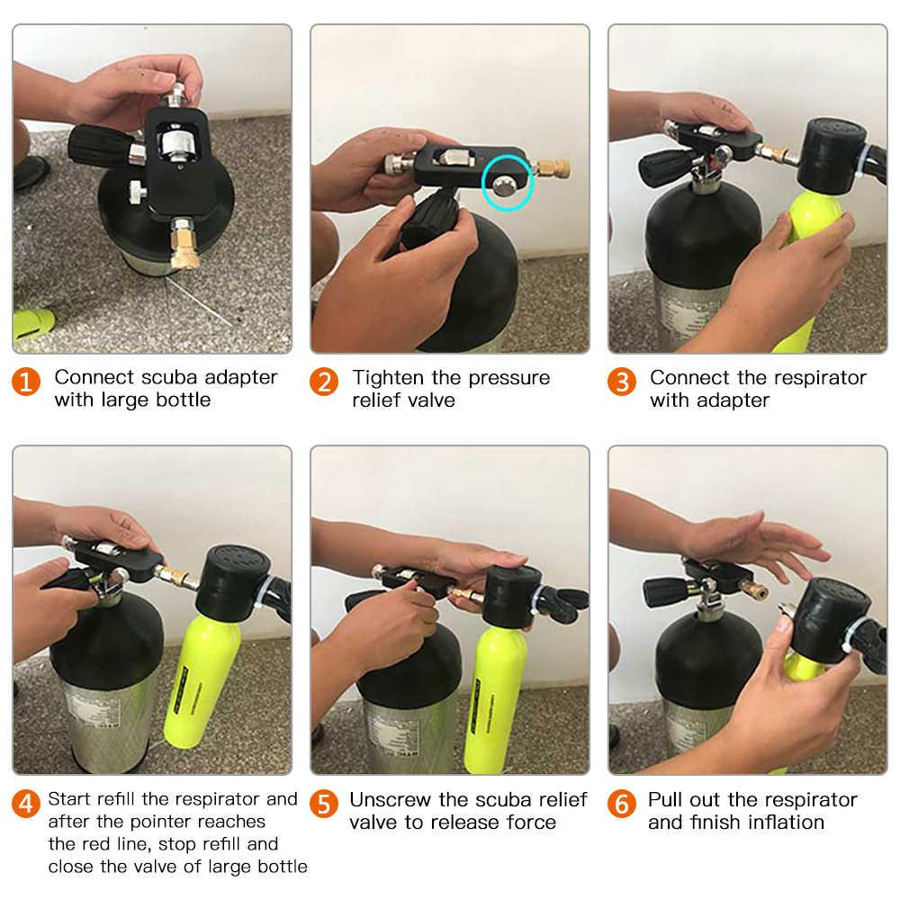 0.5L Scuba Zuurstof Cilinder Duiken Air Tank Scuba Regulator Duiken Masker Met Gauge Snorkelen Ademen Apparatuur