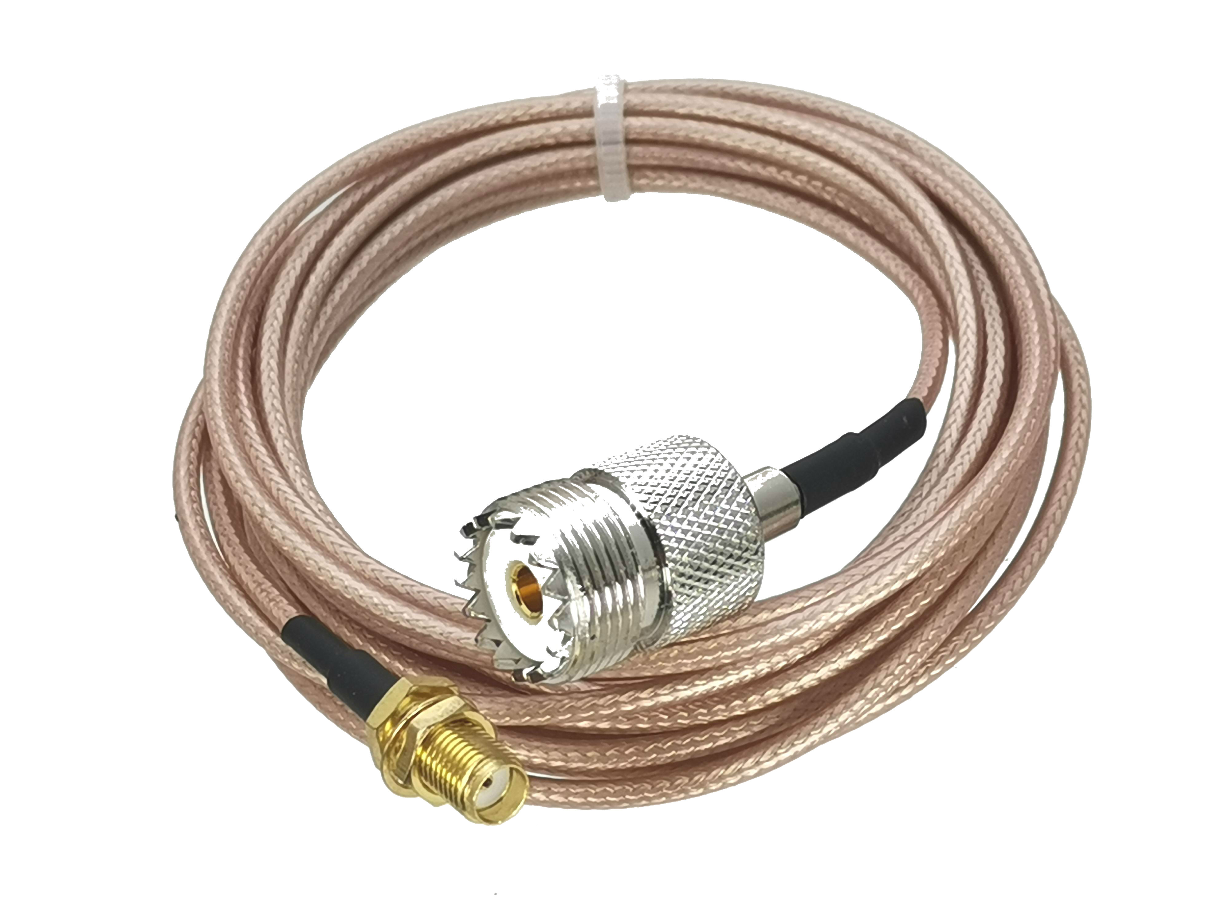 UHF SO239 Female Jack To SMA Female Jack Nut Bulkhead Connector Crimp RG316 Cable RF Jumper Pigtail 4inch~10M