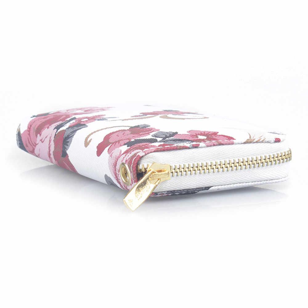Cartera larga de moda con estampado Floral para mujer, bolso de gran capacidad para teléfono, Cartera de cuero PU para mujer, tarjetero