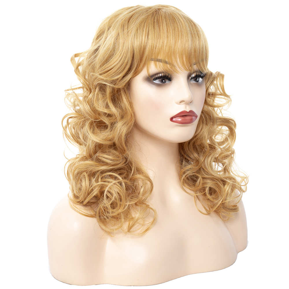 ZM Hair18inches Long Ombre Blonde Synthetic Hair Wigs With Bangs Natural Wave  Female Wavy Daily Party Heat Resistant False Hair