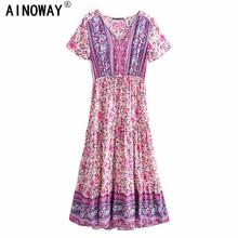 Vintage chic women purple floral print short sleeve tassel ruffles Bohemian maxi dresses  Ladies v neck rayon Boho happie dress