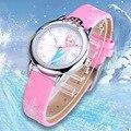 Детские часы с рисунком Диснея «Холодное сердце», модные кварцевые наручные часы с кристаллами и мультяшным рисунком из кожи для девочек, д...