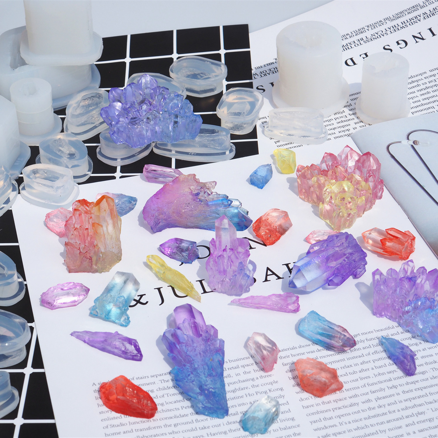 Crystal Cluster Silicone Molds Dried Flower Charms DIY Tool Epoxy Resin Craft Mineral Shape Jewelry Pendant Making Mould