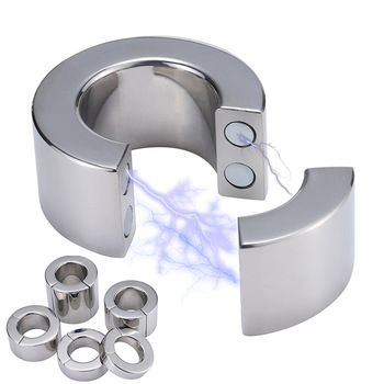 weight Stainless Steel Penis Ring Ball Stretcher Delay Lasting Metal Cock Ring Scrotum Restraint Testicular Sex Toys for Men Gay penis ring scrotal ring scrotum pendant stainless steel cock rings adult products sex toys for men b2 2 134