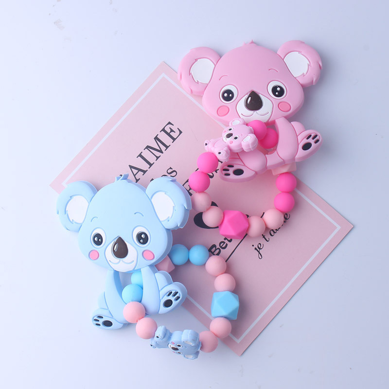 Food Grade Baby Cartoon Koala Teether Bracelet Infant DIY Ring Necklace Teethers Toddle Silicone Chew Charms Kids Teething Toys