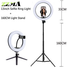 Luz de vídeo pode ser escurecido selfie led anel luz usb lâmpada grande fotografia aro luz com tripé suporte para maquiagem tiktok youtube