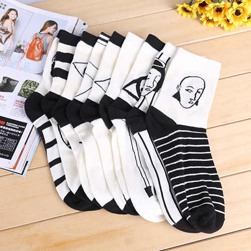 2020 Spring Women's Black White Checkerboard Socks Cotton Funny Hipster Art Ankle Black and White Style Harajuku Sox