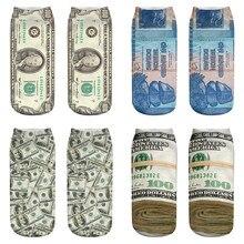 Vrouwen Korte Sokken 3D Gedrukt Ontwerp Verenigde Staten Dollar Print Sokken Grappige Creatieve Vrouwelijke Enkel Katoenen Sokken