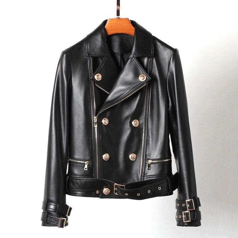 ZURICHOUSE 2020 Genuine Leather Jacket Women Short Fashion Gold Button Design Motorcycle Biker Zipper Natural Sheepskin Coat
