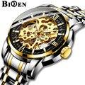 SPAß BIDEN Mechanische Uhr Herren Business Mode Gold Uhr für männer Skeleton Edelstahl Armbanduhr männer Männlichen Uhr Relogio Masculino-in Mechanische Uhren aus Uhren bei