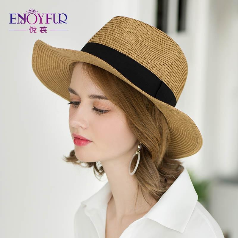 ENJOYFUR Summer Women Beach Hats Casual Fashion Panama Hat Unisex Straw Sun Protection Cap New Arrival Foldable Brand Female Hat